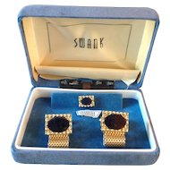 Vintage Swank Genuine Sodalite Cufflinks and Tie Tack in Box