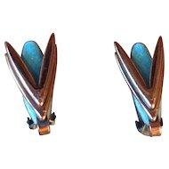 Vintage Signed Matisse Copper Enamel Clip back Earrings