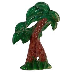 Vintage Lucite Palm Trees Pin Carved and Reverse Painted