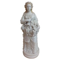 Magnificent 19c Parian Ware Harvest Goddess Statue with Applied Beading