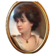 *ON SALE * Antique Hand Painted Miniature Beautiful Woman Portrait on Porcelain by Wagner