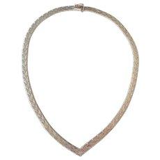 Italian Sterling Silver Woven Necklace Collar Chain Chevron Elegant