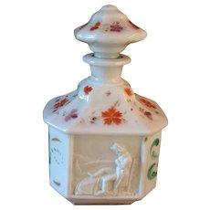 Antique French Paris Porcelain Hand Painted Scent Perfume Bottle w/ Napoleon Relief Cartouche