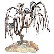 Bijan Bronze Brutalist Sculpture Weeping Willow Tree Mid Century Modern SIgned & Numbered