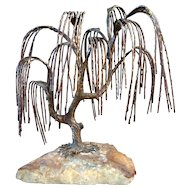 Bijan Bronze Brutalist Sculpture Weeping Willow Tree Mid Century Modern SIgned & Numbered