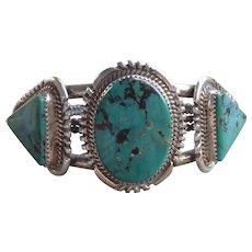 Vintage Navajo Sterling Silver Turquoise Bracelet by Begay