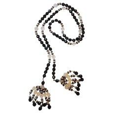 "Vintage Czech Art Deco Black Jet Crystal & Rhinestone 46"" Sautoir Flapper Necklace"