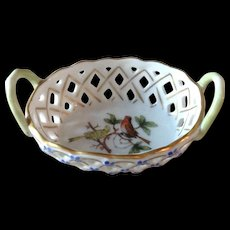Herend Vintage Rothschild Open Weave Basket Green Trim Blue Flowers
