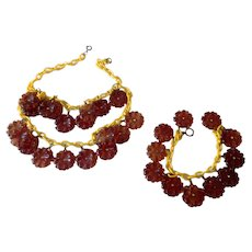 Vintage Chunky Carved Lucite and Rhinestone Dangle Flower Necklace and Bracelet set