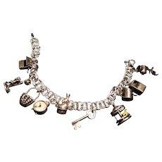 Vintage Sterling SIlver Charm Bracelet w/ 10 Unusual Mechanical Charms