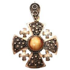 Vintage Silver and Agate Jerusalem Maltese Cross Pendant