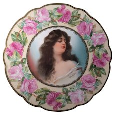 Beautiful Pair of M.Z. Austria Women and Roses Portrait Plates by Constance Hand Painted & Transfer
