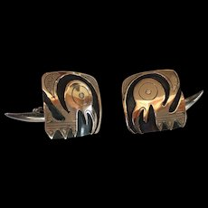 Vintage 18k Gold and Sterling Silver Modernist Bird Cufflinks Peru
