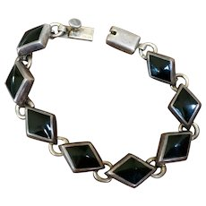 Vintage Sterling Silver Onyx Taxco Mexican Heavy Link Bracelet