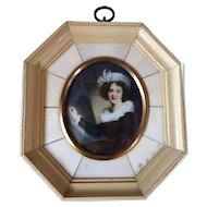 Beautiful Antique French Hand Painted Miniature Portrait of a Woman Artist