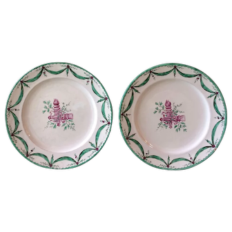 Pair of Rare French Sceaux Faience Plates 18th Century Heraldic Torches