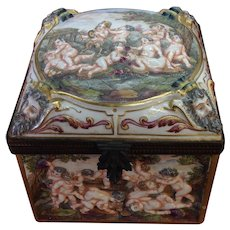 Antique French Capodimonte Ornate  Large Jewelry Box w/ Cherubs - Red Tag Sale Item
