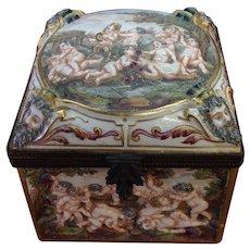 Antique French Capodimonte Ornate  Large Jewelry Box w/ Cherubs