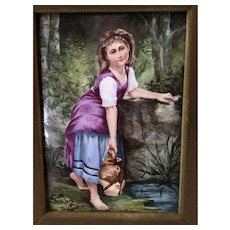 **SALE**Stunning French 19c Hand Painted Porcelain Plaque Young Girl at Stream Framed
