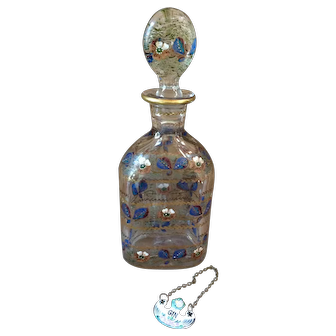 Antique French Hand Painted Decanter w/ Bottle Necklace