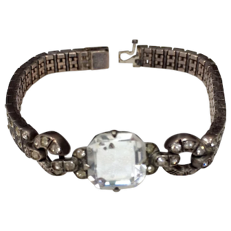 Art Deco Sterling Silver Channel Set Rhinestone Bracelet