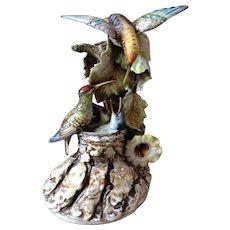 Antonio Borsato Capodimonte Hummingbird Family Feeding Figurine Magnificent