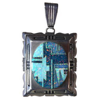 Museum Quality Navajo Sterling Silver and Opal Inlay Massive Pendant by Will Denetdale