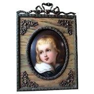 Antique Hand Painted Miniature Portrait on Porcelain Young Boy w/ Beautiful Frame