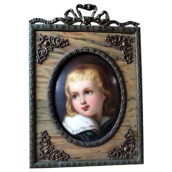 Antique Hand Painted Miniature Portrait on Porcelain Young Boy w/ Beautiful Frame