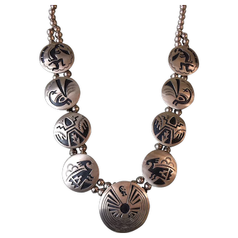 Beautiful Hopi Sterling Silver Carved Overlay Squash Blossom Necklace