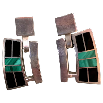 Vtg Modernist Taxco Sterling Silver Onyx Malachite Pierced Earrings