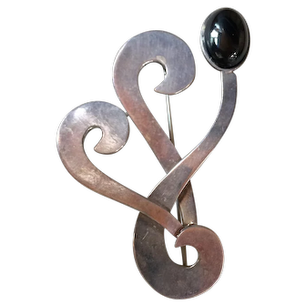 Vintage Mexican Taxco Sterling Silver Onyx Modernist Pin Brooch