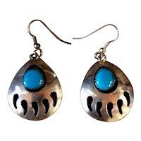 Vintage Navajo Turquoise Sterling Silver Bear Paw Earrings
