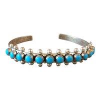 Navajo Sterling Silver Turquoise Snake Eye  Bracelet