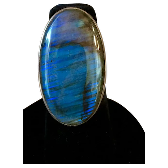 Vintage Sajen Sterling Silver Labradorite Ring