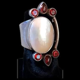 Vintage Sterling Silver Sajen Large Mother-of-Pearl & Garnets Ring Handcrafted