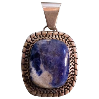 Vintage Mexican Sterling Silver Lapis Lazulli Pendant