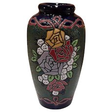 Czech Amphora Arts and Crafts Roses Vase 9""