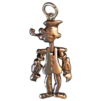 Vintage Sterling Silver Popeye Movable Charm Pendant