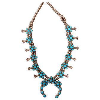 Unusual Vintage Navajo Turquoise Sterling Silver Squash Blossom Necklace