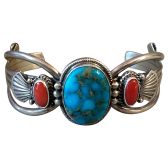 Vintage Navajo Sterling Silver Turquoise Coral Cuff Bracelet M & R Calladitto