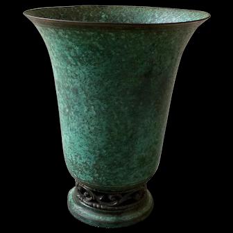 Vintage Carl Sorensen Tall Patinated Bronze Vase Pierced Foot