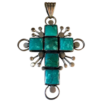 Monumental Vintage Federico Jimenez Turquoise Sterling Silver Cross Modernist
