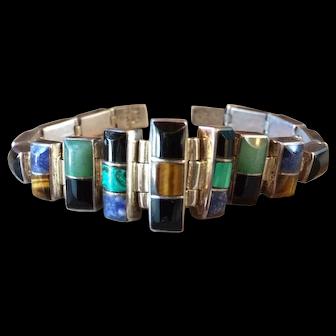 Vintage Taxco 950 Sterling Silver Multi Gemstone Bracelet