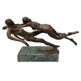 """Important Kees Verkade Bronze Sculpture """"The Swimmers"""" signed # 3/6 1984 Listed"""