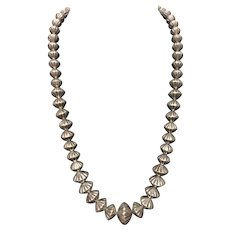 """Vintage Sterling Silver Fluted Graduated Navajo Pearl Necklace 22"""""""