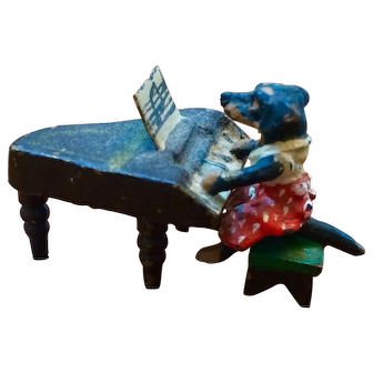Antique Miniature Vienna Bronze Dachshund Playing Piano