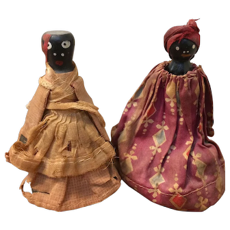 Very Old Black Americana Wooden and Cloth Doll Bells