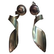 Vintage Mexican Taxco Sterling Silver Clip on Earrings