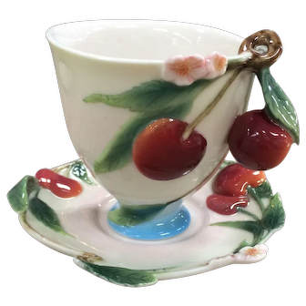 Vintage Franz Porcelain Cherries Cherry Teacup Saucer Set